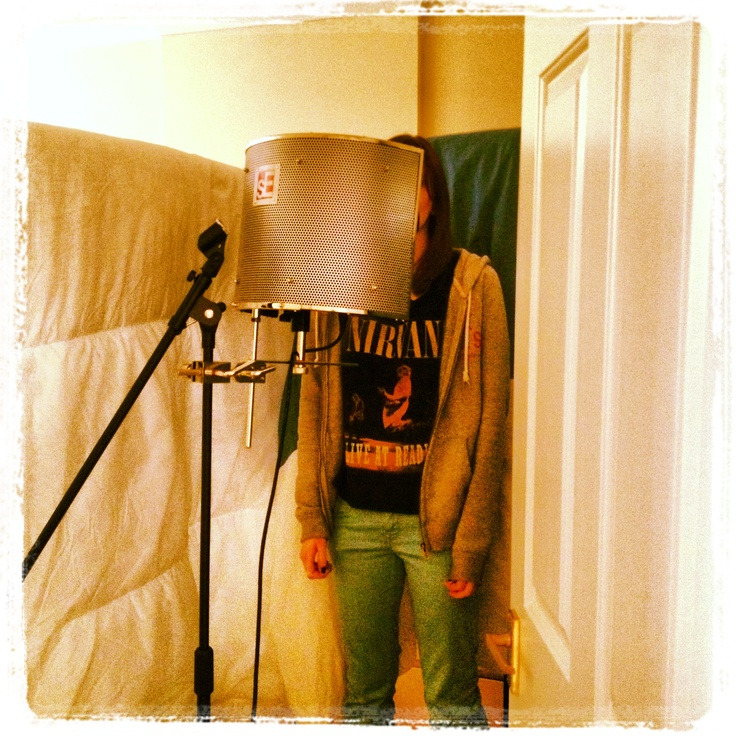 Laura in our homemade vocal booth recording her part for for Classic house vocals