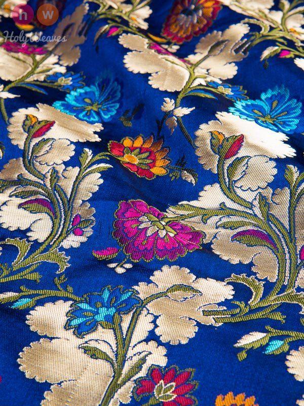 Blue Handwoven Kimkhwab Brocade Sherwani Cut - HolyWeaves - 2
