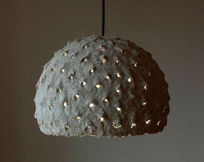 Paper Mache Pendant Light Recycled Paper Lampshade Paper Pulp Light Translucent Paper Light Hanging Lamp 30 Cm 12 Inches Diameter Crochet Lamp Pendant Light Paper Lampshade