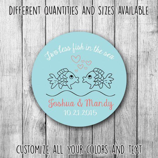 Two less fish in the sea wedding printable wedding custom stickers by mycustomwedding on
