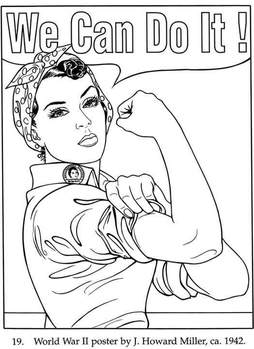 """We can do it!"" Artist: J. Howard Miller | Adult coloring ..."