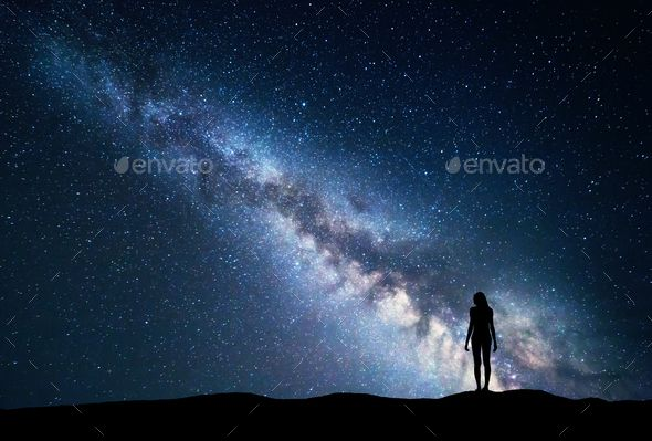 Milky Way With Standing Woman Night Landscape Night Landscape Cool Landscapes Landscape