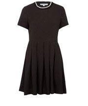 Black Embossed Box Pleat Dress