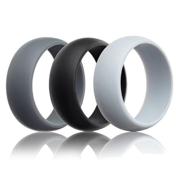 Silicone Wedding Rings 3 Pack Grey Black Light Grey 8 7mm Wide In 2019 Silicone Wedding Band Wedding Ring Bands Rings For Men