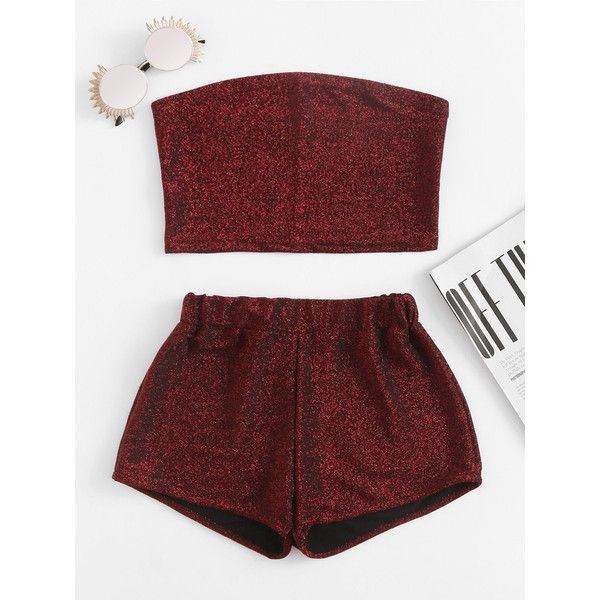 SheIn(sheinside) Sparkle Bandeau Top With Shorts ($15) ❤ liked on Polyvore featuring tops, burgundy, red bandeau bikini top, red sleeveless top, sexy summer tops, bandeau top and red bandeau top