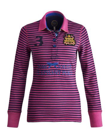 Joules null Womens Long Sleeved Polo, Ruby.                     Although its origins are vague, some say elephant polo was first played in the 12th century. Celebrate this time-honoured sport with this timeless polo shirt. In rugged slub jersey, finished with badge and embroidery detail.