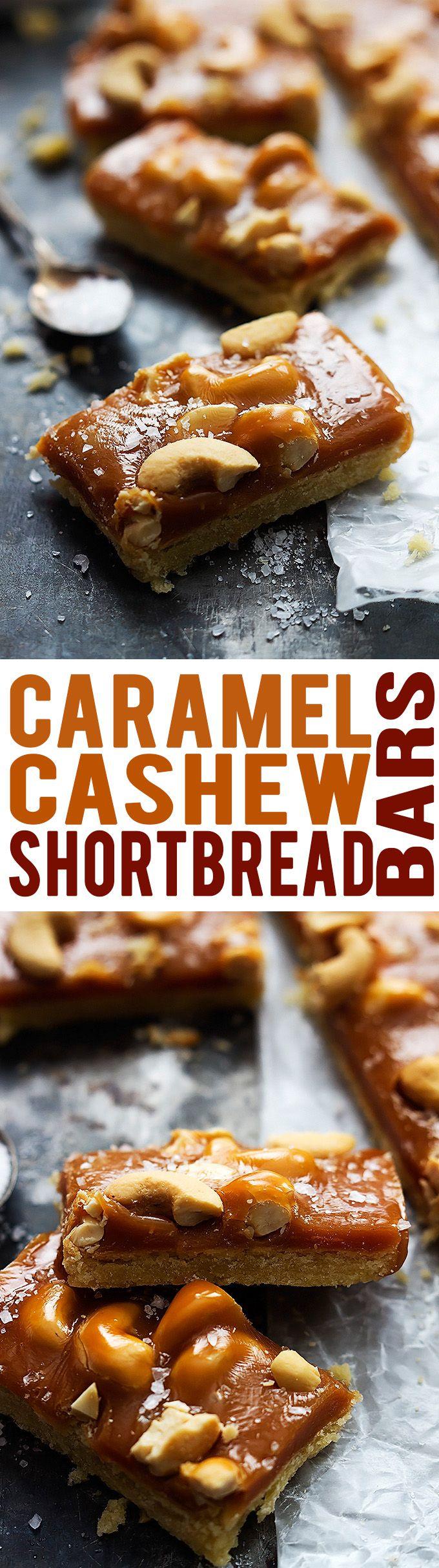 Caramel Cashew Shortbread Bars   Creme de la Crumb
