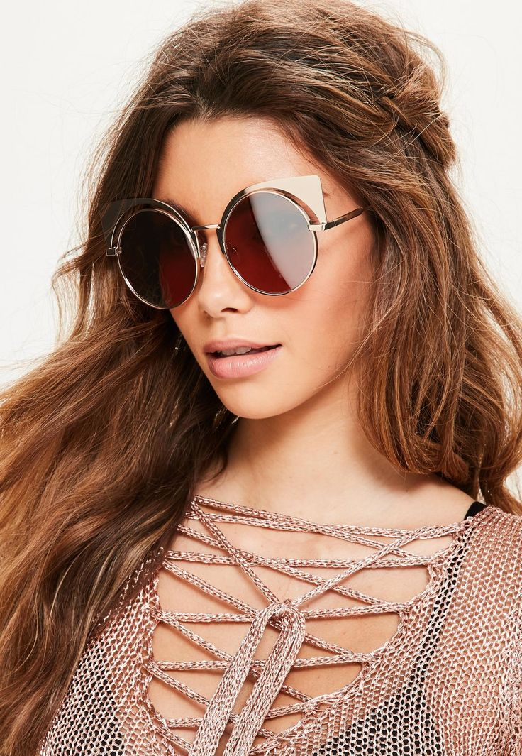 Missguided - Gold Mirror Metal Cat Eye Sunglasses