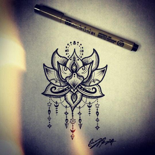 Lotus flower tattoo design, henna lotus