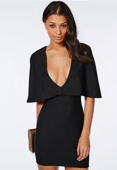 Crepe Cape Bodycon Dress Black - Dresses - Bodycon Dresses - Missguided