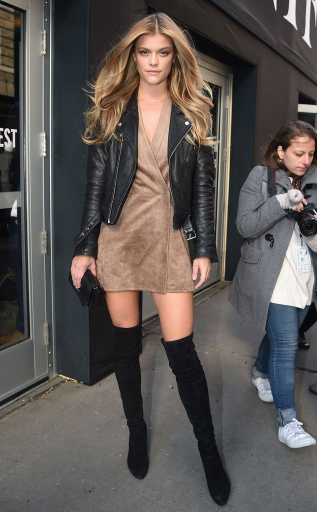 Nina Agdal from New York Fashion Week Fall 2016: Star Sightings  Check out those stems! The Sports Illustrated model stunned in suede while showing off her long legs.