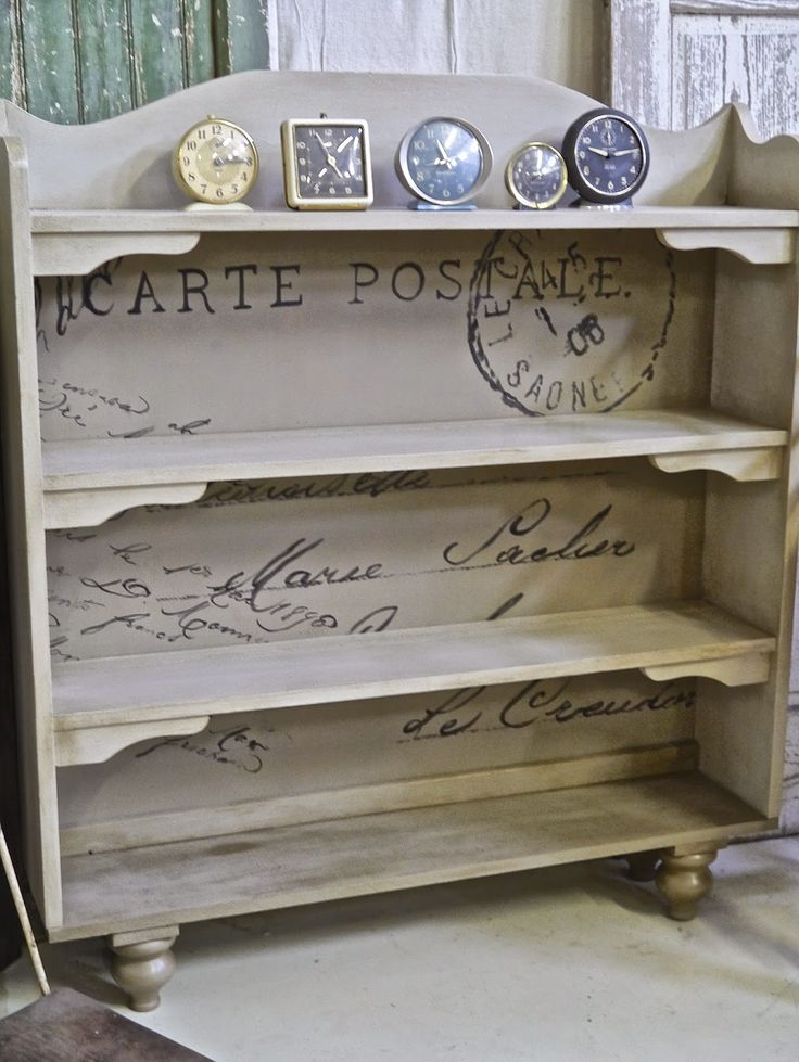 Painted Bookcase with Script painting on the back