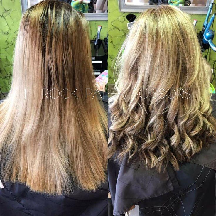 Before & After Cut & Color #hair by ROCK paper Scissors in Bolivar, MO  Blonde Brown Hilites Lowlites medium length hair #forpeoplethatROCK