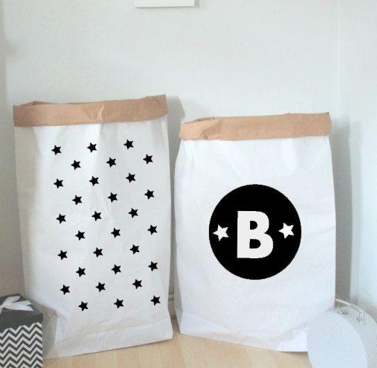 Stars Monochrome Toy Sack - Black Stars - Toy Storage - Personalised Gift-Toy Box - Scandinavian Style