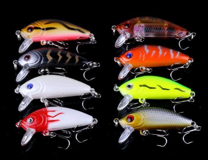 56pcs//set Mixed Color Minnow Fishing Lures Bass Bait Crankbait Treble Hook