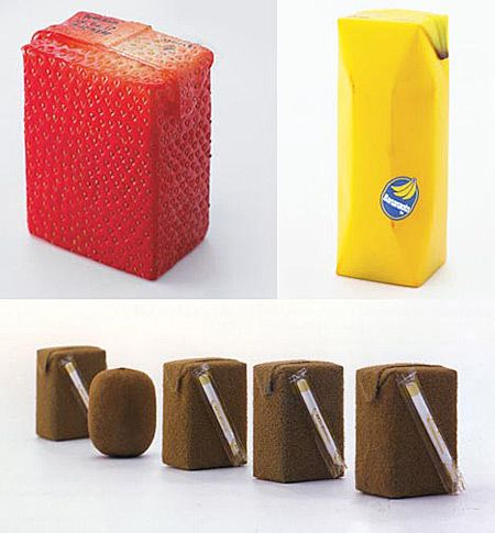 Fruit Drink Packages  |  Designer Naoto Fukasawa developed a totally unique packaging on fruit beverages product. He explored the color, look, feel, and touch of packaging. If it's a strawberry drink, why wouldn't we make it with a strawberry look on its box? It's simple.