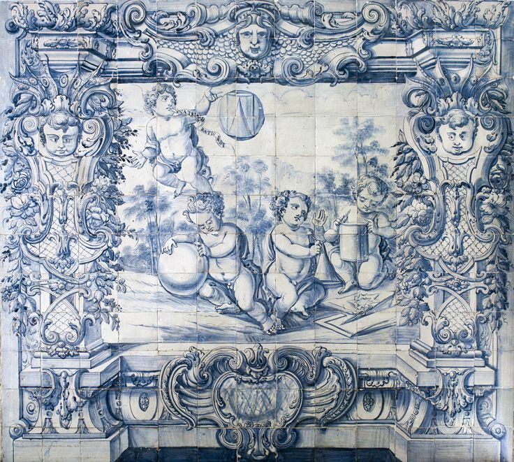 Lisboa | Hospital de / Hospital of São José | Salão Nobre / Great Hall | pormenor da secção representando uma alegoria à Matemática, Geometria e Cosmografia / detail of the section representing an allegory of Mathematics, Geometry and Cosmography | c. 1740 [© AzInfinitum] #Azulejo #AzulejoDoMês #AzulejoOfTheMonth #Lisboa #Lisbon