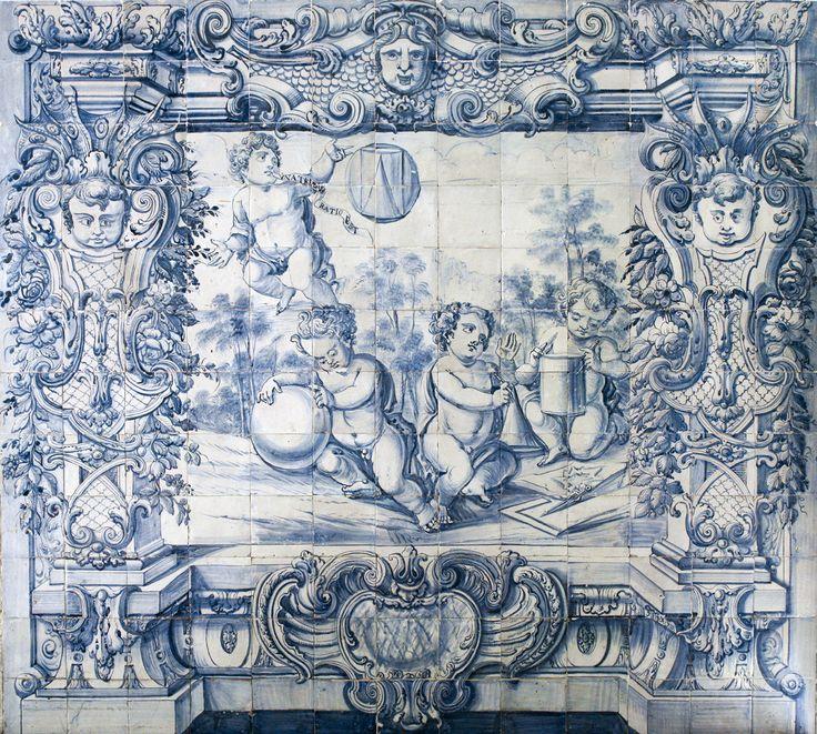 Lisboa   Hospital de / Hospital of São José   Salão Nobre / Great Hall   pormenor da secção representando uma alegoria à Matemática, Geometria e Cosmografia / detail of the section representing an allegory of Mathematics, Geometry and Cosmography   c. 1740 [© AzInfinitum] #Azulejo #AzulejoDoMês #AzulejoOfTheMonth #Lisboa #Lisbon