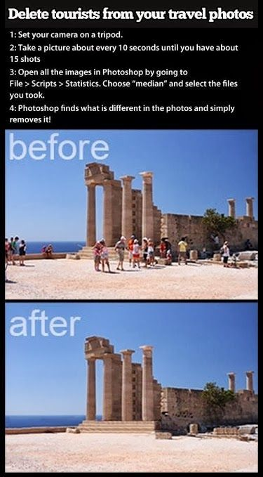 To remove tourists from photos, place your camera on a tripod, snap 15 photos every 10 seconds, open them up in Photoshop, and pick File >Scripts >