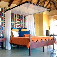Enjoy a few nights in the Ndebele suite-real Southern African style