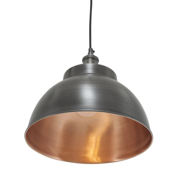 Brooklyn Vintage Metal Dome Pendant Light   Dark Pewter U0026 Copper   13inch