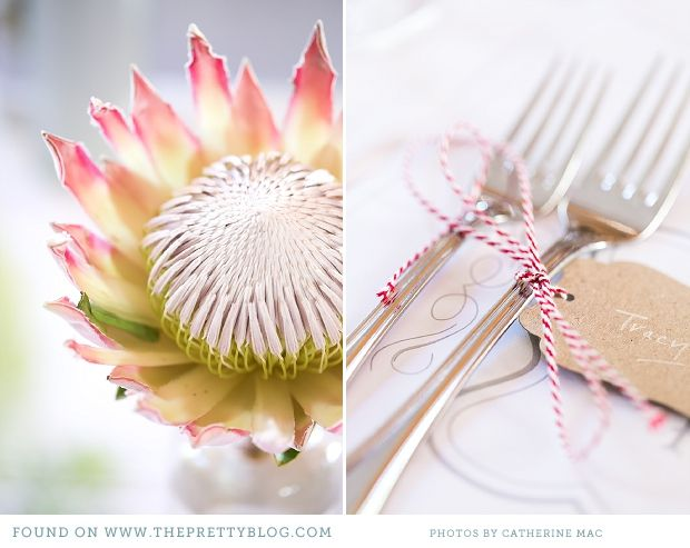 Protea & name tags | Photography: Catherine Mac, Flowers: Paradiso