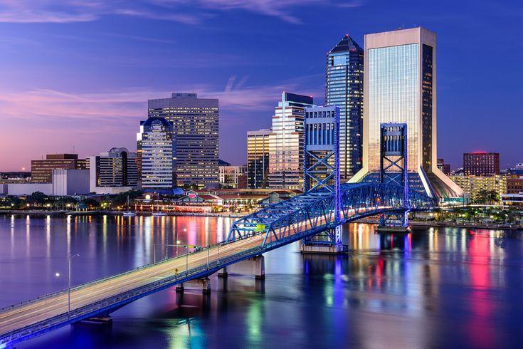 Jacksonville Florida Skyline Sailcloth Print