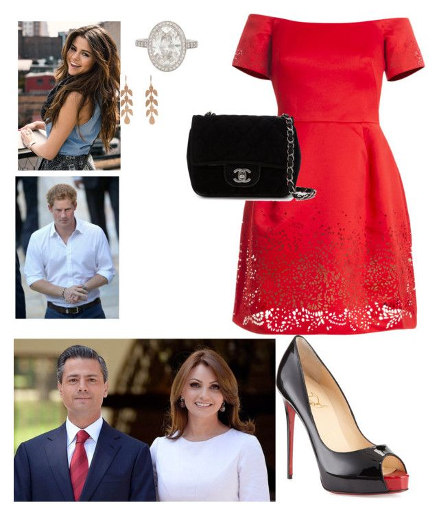 """Arriving in Mexico and Being Greeted By Mexican President, Enrique Peña Nieto and First Lady, Angelica Rivera"" by duchessofwindsor ❤ liked on Polyvore featuring Notte by Marchesa, Chanel, adidas NEO, Tiffany & Co. and Irene Neuwirth"