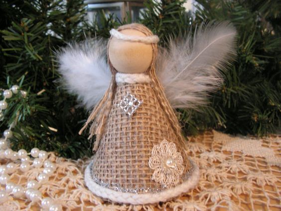 Christmas Ornament burlap angel: