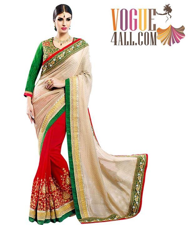 ### BEAUTIFUL AND CLASSIC BEIGE AND RED COLORED DESIGNER SAREE ###