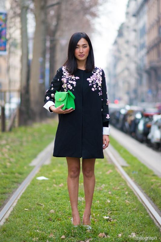 mitograph Nicole Warne Milan Fashion Week 2013 2014 Fall Winter MFW Street Style Shimpei Mito