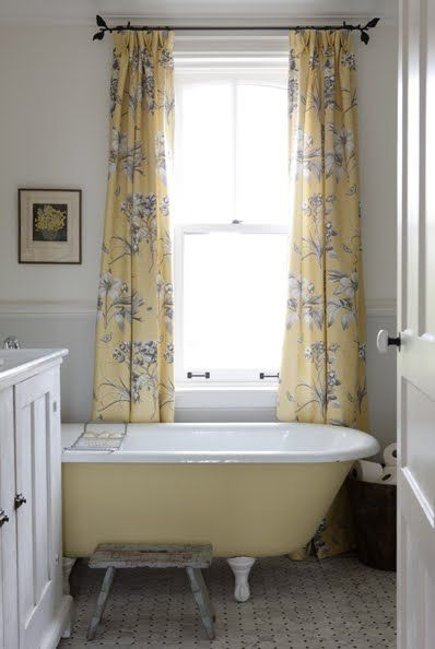 Love this yellow & white country bathroom | design Sarah Richardson | post Sarah's Style
