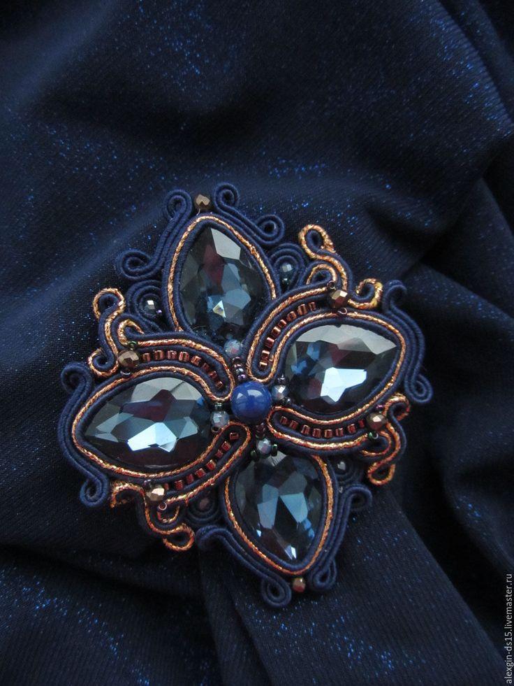 Купить Сутажная брошь-кулон - сутажная брошь, брошь, сутаж, сутажное украшение, украшение для девушки