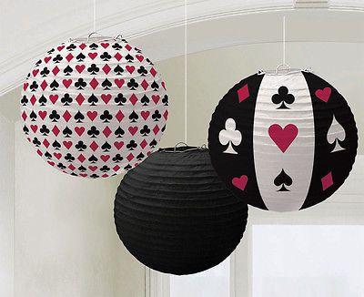 3 LAMPIONS CASINO PARTY Deko Poker Roulette Black Jack Las Vegas