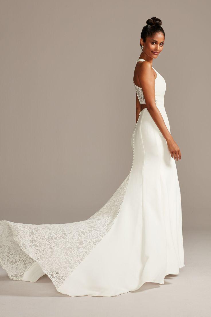 Sheer Back Crepe Wedding Dress With Lace Train David S Bridal Petite Wedding Dress Glamourous Wedding Dress Wedding Dresses Lace [ 1104 x 736 Pixel ]