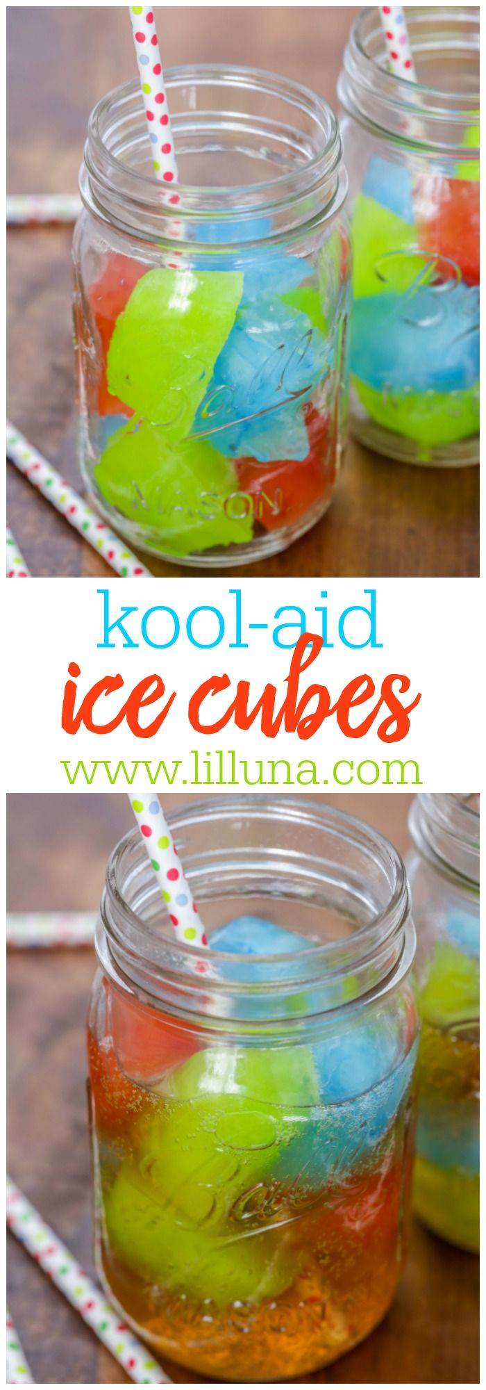 "Punch Ice Cubes - the kids LOVE these! AKA ""Magic Potion"" Hawaiian punch mix poured into a water bottle, then into ice trays. Freeze over night and enjoy with your favorite drink!"