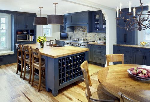 Navy Blue Kitchen Cabinets with wooden tabletops