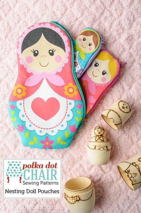 Nesting Doll Zip Pouches, pattern includes printable for the dolls too, just print at home on inkjet fabric.