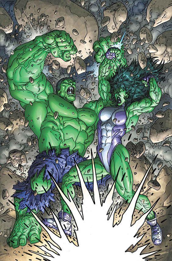 #Hulk #Fan #Art. (Hulk vs She-Hulk) By: Scott Kolins.