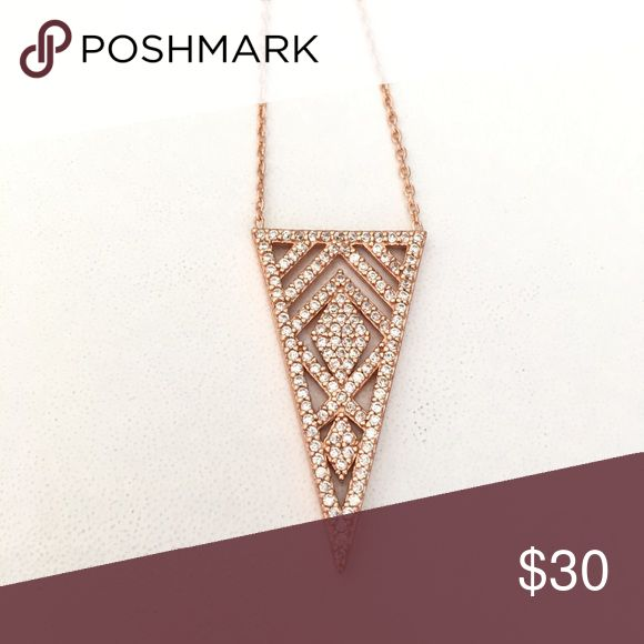 """CZ Triangle Filigree Pendant/necklace -Made of . 925 sterling silver with rose gold plated finish - Triangle pendant with a geometric design  CZ pave filigree  - chain 16.5"""" +2"""" ext . Pendant about 1.30"""" L Condition- new/never used just WOT tag Jewelry Necklaces"""