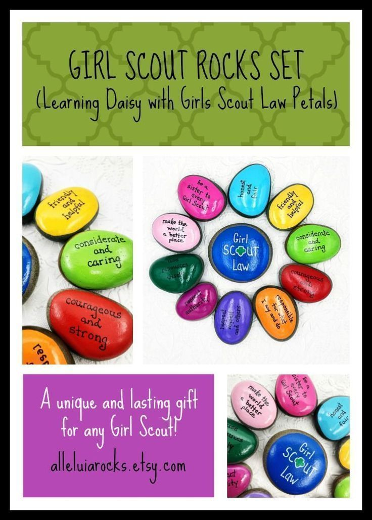 Girl Scout Law and Promise Set of Rocks, Girl Scout Daisy Oath, Set of 11 Rocks for Girl Scouts – Alleluia Rocks-Painted Stones
