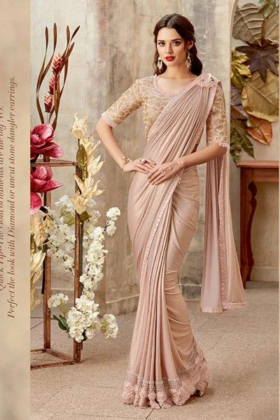 b1eb4d34fa Fancy Fabric Chikoo Reception Wear Indowestern One Minute Fusion Saree With  Embroidery