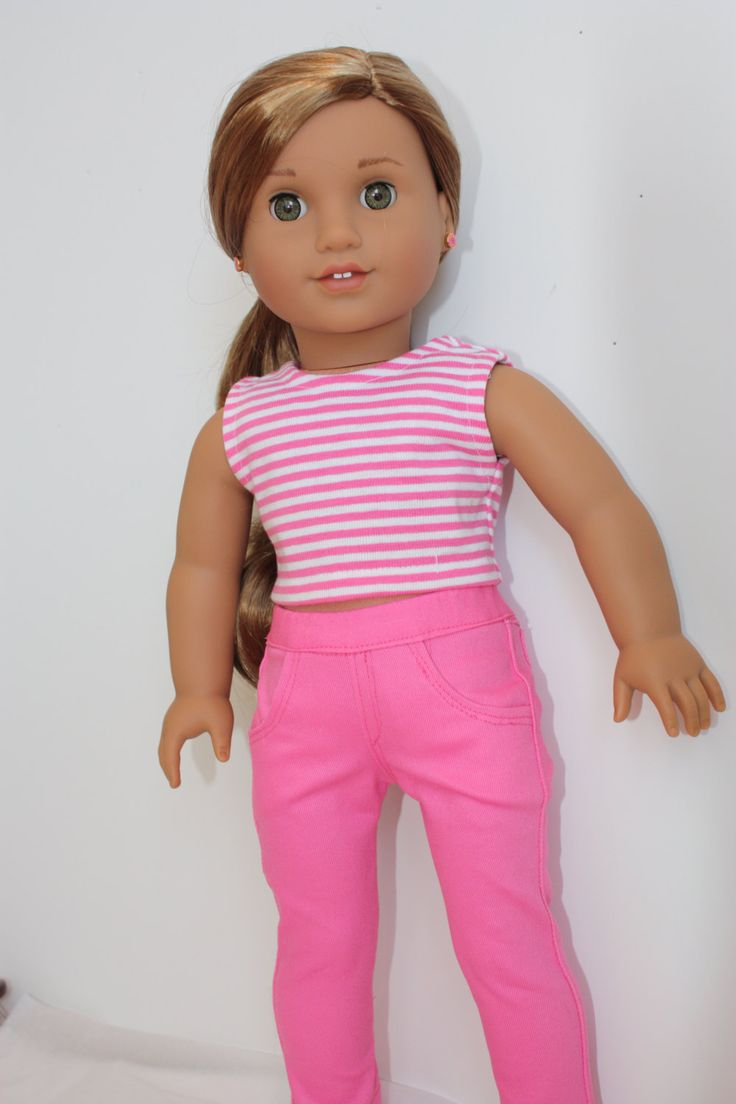Pink skinny jean outfit made for 18 inch dolls such as American girl, or Madame Alexander by GrandmasDollCloset on Etsy