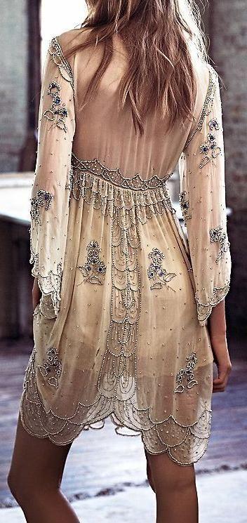 boho beaded dress. #fp