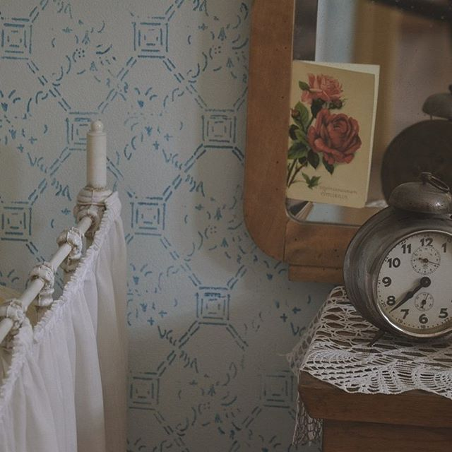 vintage room with clock and mirror