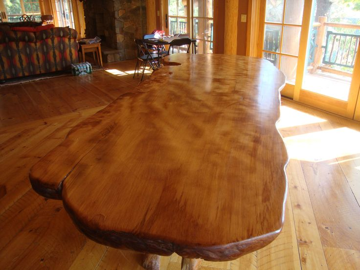 Large Curly Redwood Dining Table. Rustic Dining Room ...