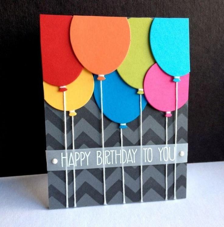 Geburtskarte mit bunten Lupftballons