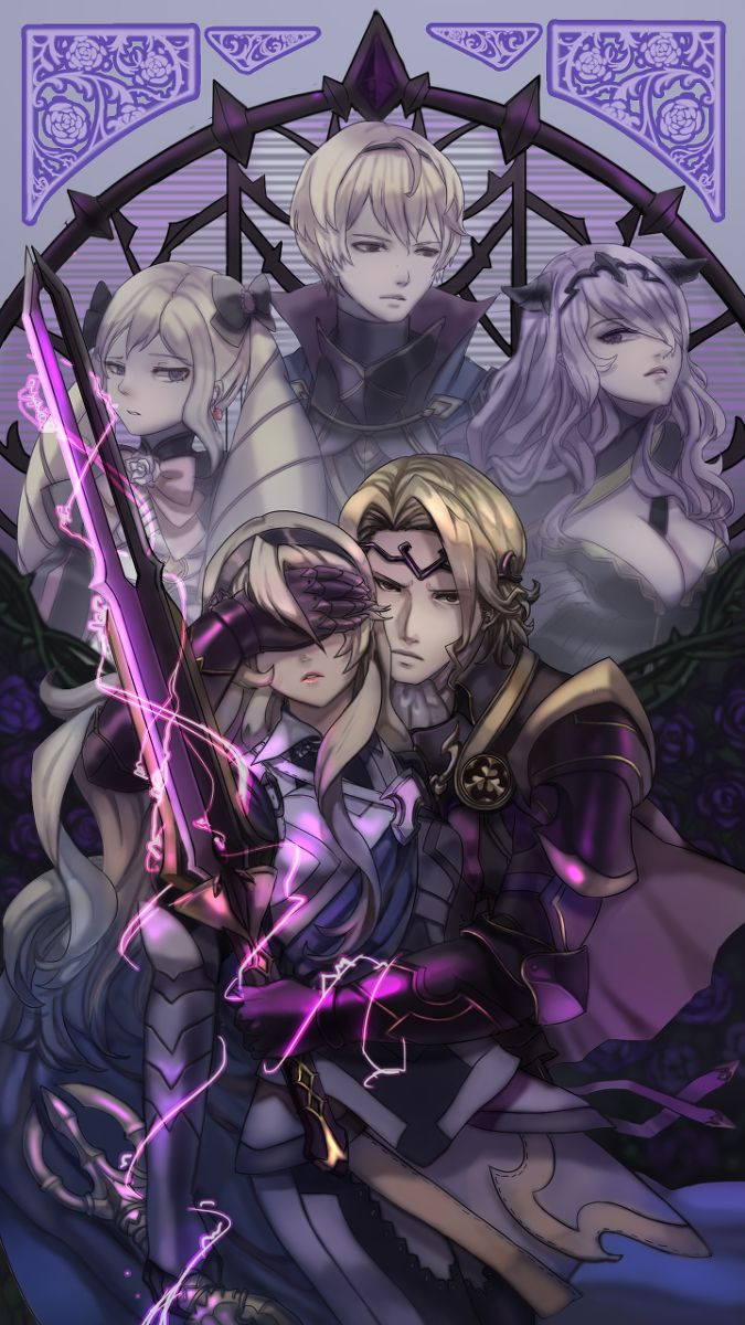 Fire Emblem Fates- Xander and female MC. Norh siblings in the background