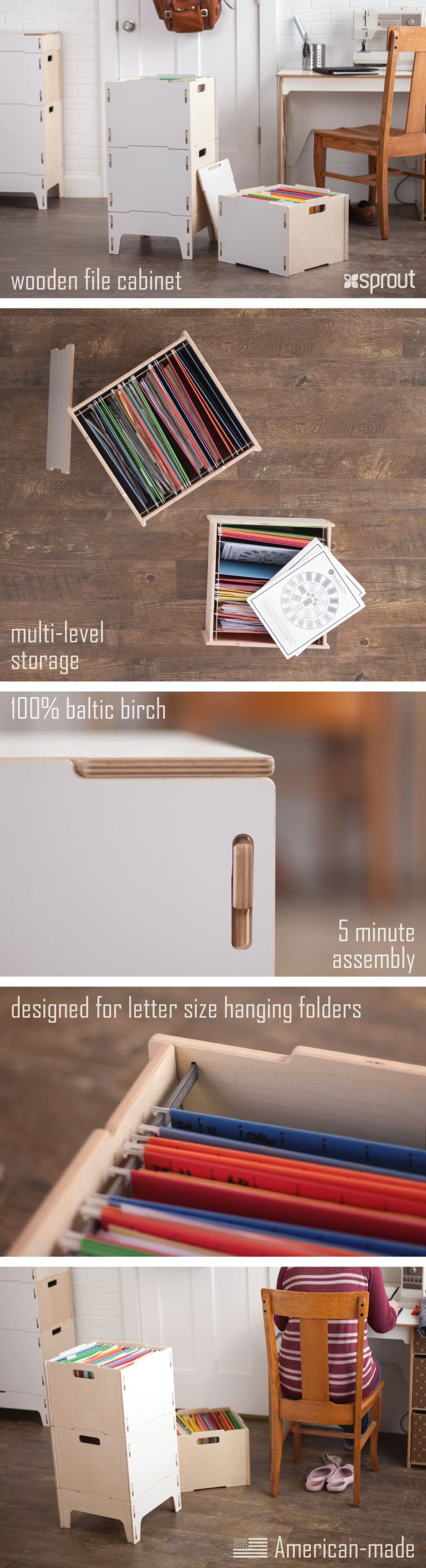 Sprout's white filing cabinet comes with modular file boxes that can stack for multi-level, space saving storage. With lightweight 100% Baltic birch construction, the hanging file boxes are easy to move and use as needed. Learn more about the wooden filing cabinets at Sprout.