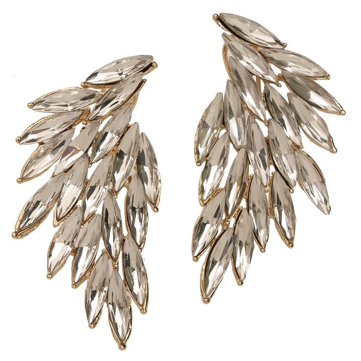 Luxe Wing Crystal Earrings by: t+j Designs: Crystals Earrings,  Mop, Crystal Earrings, Wings Crystals, Luxe Wings, Swab,  Swob, Wings Earrings, T J Design